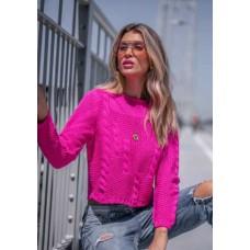 BLUSA CROPPED VITORIA GOLA CANELADA VERA TRICOT 04 - Pink