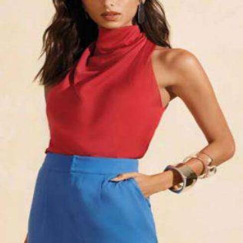 BLUSA DECOTE DEGAGE COM CAVA MORENA ROSA 108718 - Vermelho
