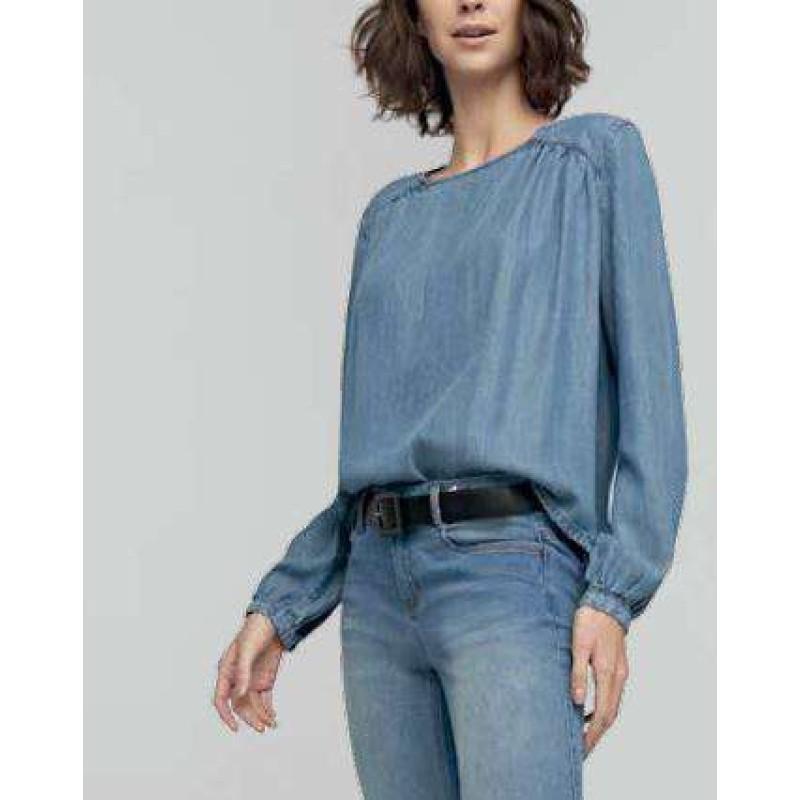 b17247a413 BLUSA FEMININA JEANS MANGA LONGA ENNA 501BL000197 - Jeans - Delabela