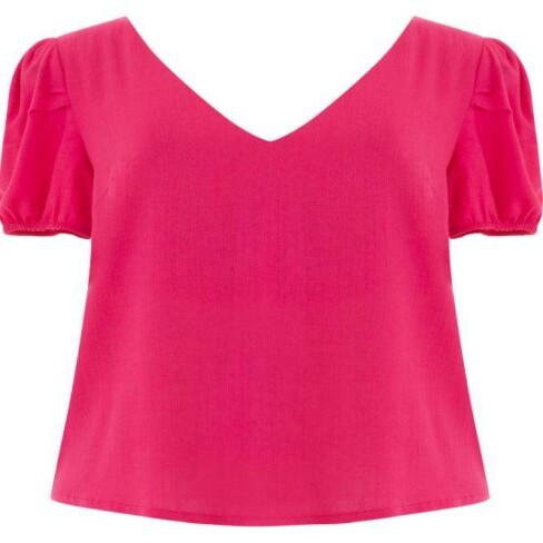 BLUSA LINHO MISTO DECOTE V SEIKI 220966 - Pink