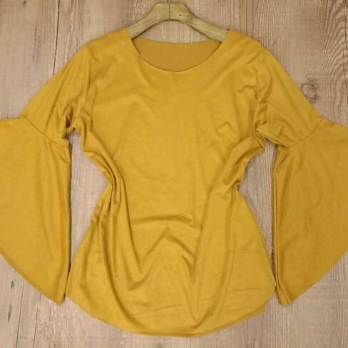 BLUSA SUEDE MANGA FLARE - Amarelo
