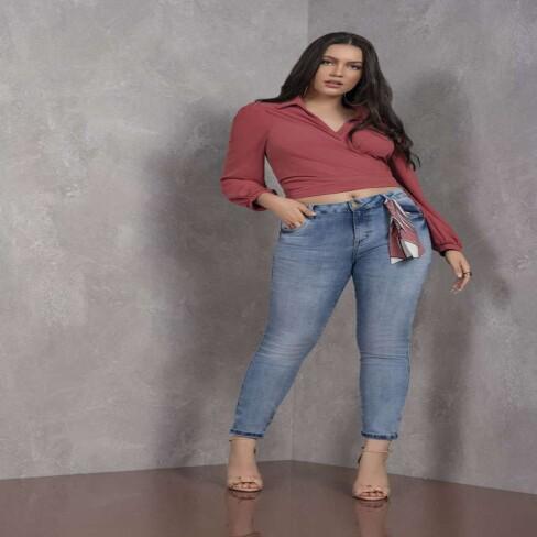 CALÇA JEANS SKINNY COM LENÇO ELEGANCE 171275 - Jeans