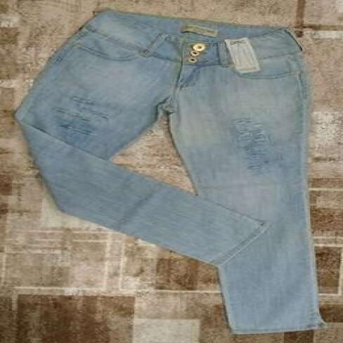 CALCA BORDADO BOLSO ANA HICKMANN - Jeans