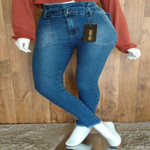 CALÇA CLOCHARD COM AMARRAÇÃO KALLY JEANS 2150 - Jeans