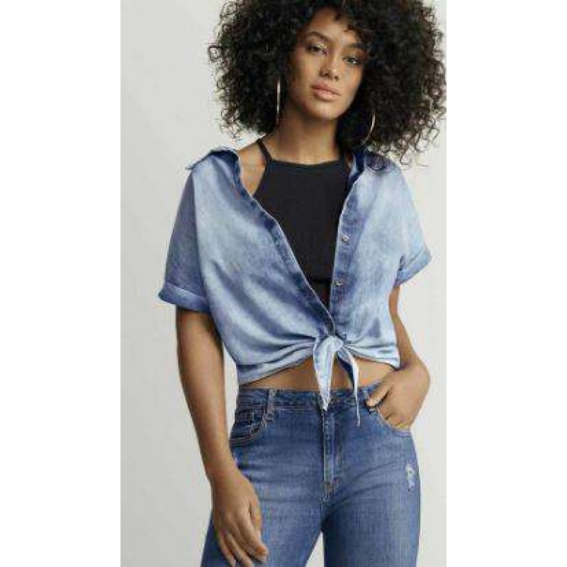 CAMISA JEANS FEMININA EM ALGODÃO HERING H75K - Jeans - Delabela 59faaee2429f2