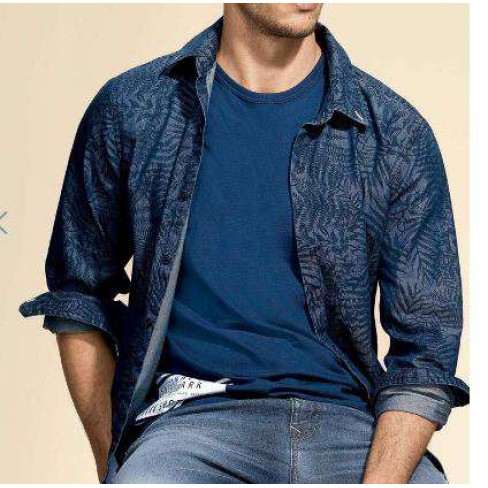 CAMISA MASCULINA JEANS HERING H2F8 - Azul