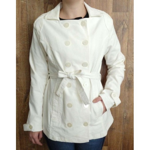 CASACO TRENCH COAT DE VELUDO HERING KKH5 - Off white