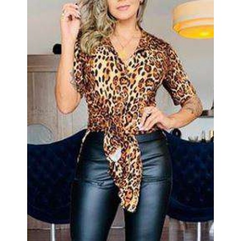CHEMISE ANIMAL PRINT TECIDO SUEDE - Animal print