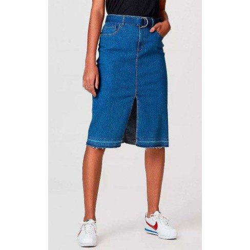 SAIA JEANS MIDI COM FENDA FRONTAL HERING HB4B - Jeans