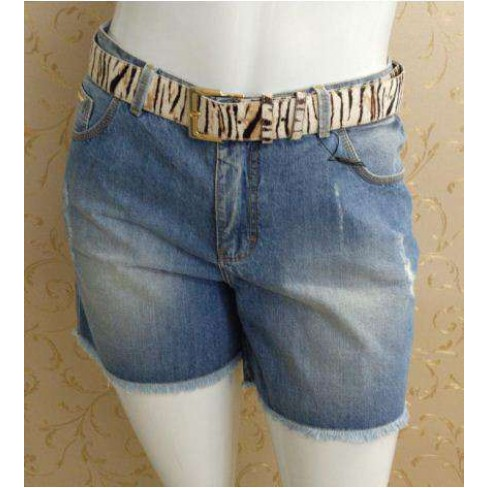 SHORTS JEANS COM CINTO ELEGANCE 17230 - Jeans