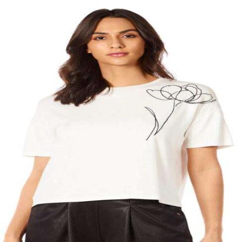 T-SHIRT DECOTE REDONDO MORENA ROSA 270004 - Off white