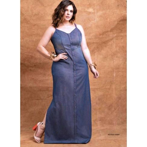 Vestido Jeans Longo Com Alça Elegance 05604 Azul